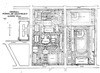 History of the Georgia Institute of Technology - Georgia Tech's first master plan, created in April 1912