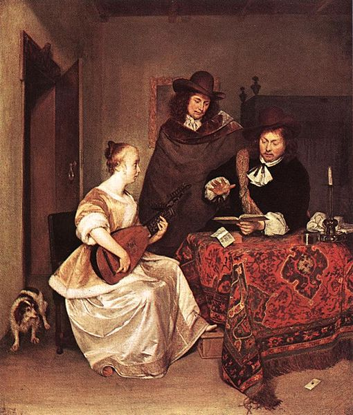 Fichier:Gerard ter Borch (II) - A Young Woman Playing a Theorbo to Two Men - WGA22156.jpg