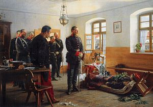 Abel Douay - Crown Prince Frederick Wilhelm contemplating the corpse of French general Abel Douay, by Anton von Werner (1888)