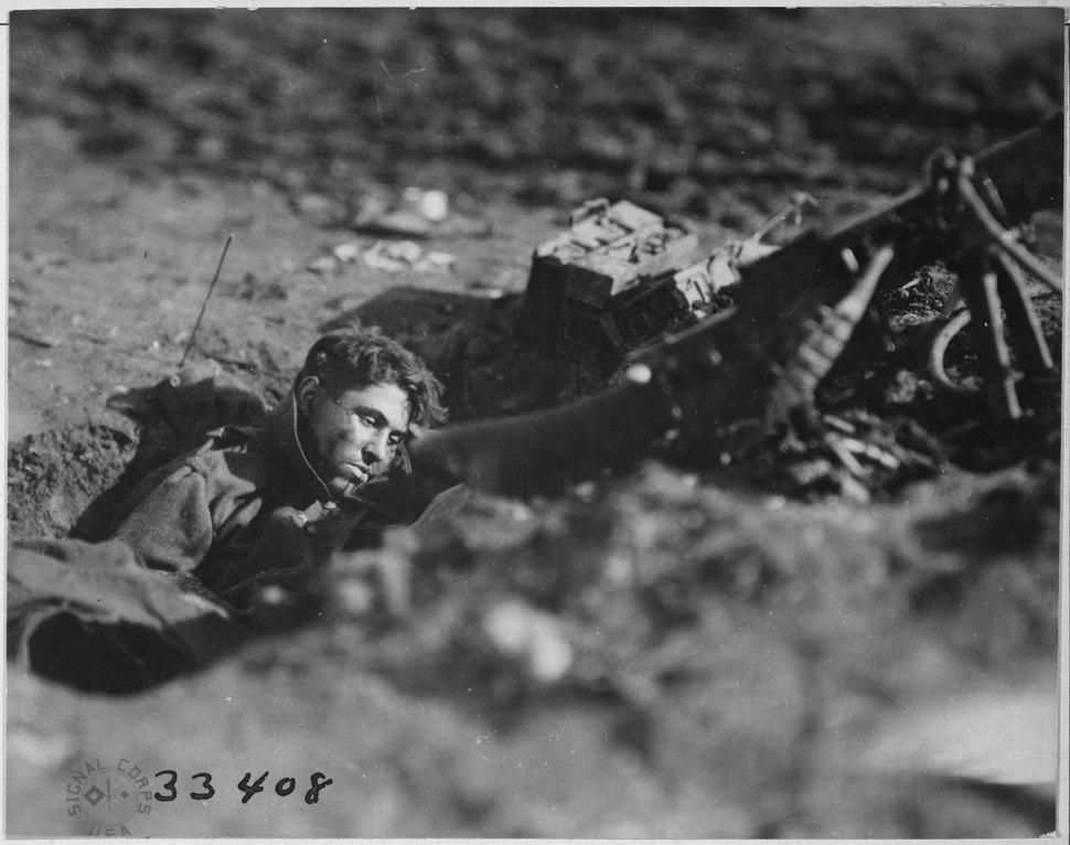 German machine-gun nest and dead gunner. Villers Devy Dun Sassey, France., 11-04-1918 - NARA - 530778