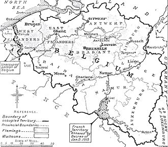 German occupation of Belgium during World War I - Map of German-occupied Belgium