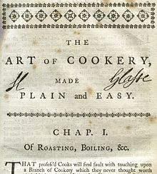 Glasse's signature at the top of the first chapter of her book, The Art of Cookery Made Plain and Easy, 6th Edition, 1758, a defence against rampant plagiarism