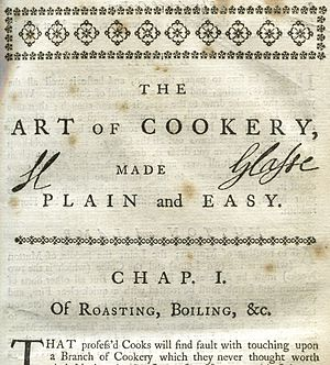 The Art of Cookery made Plain and Easy - Hannah Glasse's signature at the top of the first chapter of her book, 6th Edition, 1758, in an attempt to reduce plagiarism