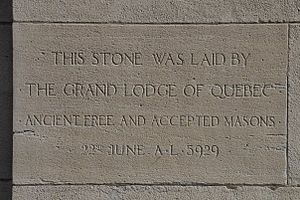 Montreal Masonic Memorial Temple - Dedication Cornerstone dated 22 June, A.L. 5929