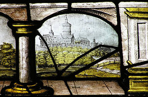 Godesburg - Image: Godesburg Kirchenfenster Kloster Ehrenstein Wied (colour)