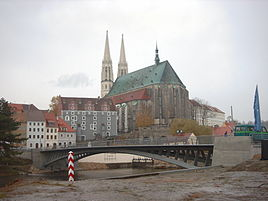 St. Peter's Church and the rebuilt Altstadt bridge between Görlitz and Zgorzelec