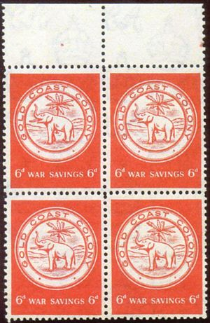 Crown Agents Philatelic and Security Printing Archive - Image: Gold Coast 1943 war savings stamps multiple script CA watermark