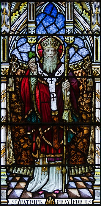Patrick showing cross pattee on his robes Goleen Church of Our Lady, Star of the Sea, and St. Patrick North Wall Fourth Window Saint Patrick Detail 2009 09 10.jpg