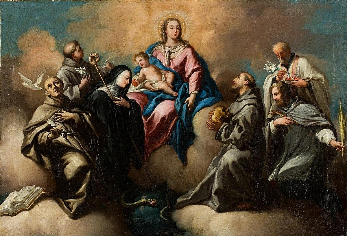 Velázquez: Conversación sagrada. La obra representa a la Virgen con el niño, acompañados de un grupo de santos: Santa Gertrudis la Magna (1256-1302), San Pedro de Alcántara (1499-1562), San Antonio de Padua (1191/95-1231), San Francisco de Asís (1181/82-1226), San Juan Nepomuceno (1340-1393) y San Felipe Neri (1515-1595).