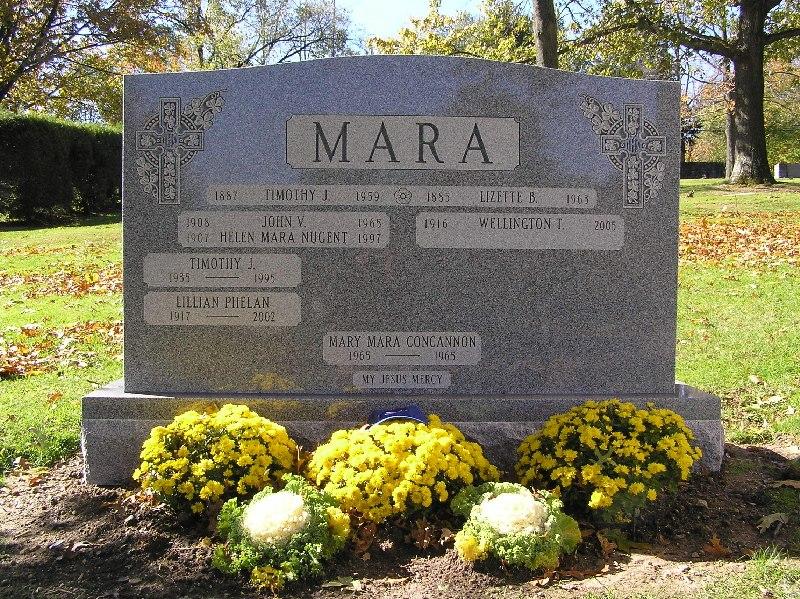 Grave of Wellington Mara in Gate of Heaven Cemetery