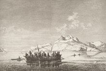 Umiaks Being Used For Transport In Greenland The Summer Of 1875 With Kayaks Travelling Alongside