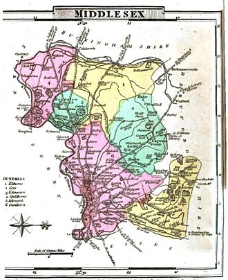 Middlesex - Map of Middlesex, 1824. Note: west is at the top.