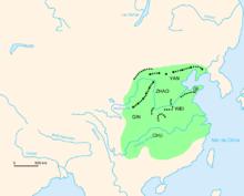 Carte de la Chine représentant les sections les plus anciennes de la Grande Muraille.