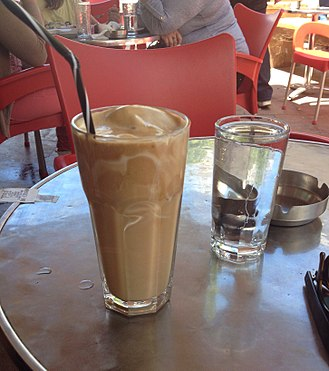 "Iced coffee - ""Frappe""  Greek Iced coffee, made from instant coffee, water and sugar."