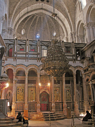 East end of the Greek Orthodox-owned catholicon, 2009 Greek Orthodox Catholicon in the Church of the Holy Sepulchre, Jerusalem.jpg
