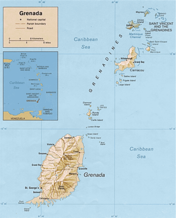 Grenada Wikipedia - Map of grenada world