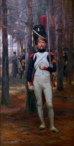 A Grenadier à Pied, 1812 (Napoleon can be seen in the background)