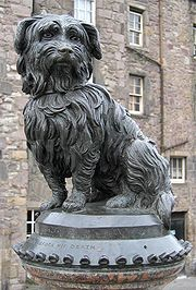 A statue of Greyfriars Bobby, a famously loyal Skye Terrier