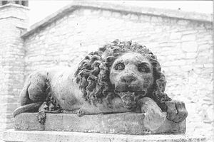 Basilica di Santa Chiara - Statue of a Lion outside the Basilica in the square.