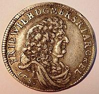 Friedrich Wilhelm (Orig.:FRID.WILH) auf einem Brandenburger Gulden, 1683 (Quelle: Wikimedia)