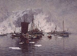 Moskenes - Image: Gunnar Berg Fiskebåter ved Reine