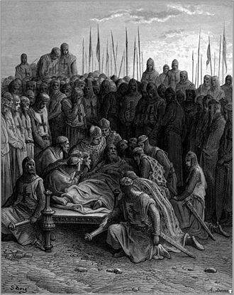 "Joseph François Michaud - ""The Death of Baldwin"" (1875), one of 100 plates prepared for a posthumous edition of Michaud's History of the Crusades by Gustave Dore"