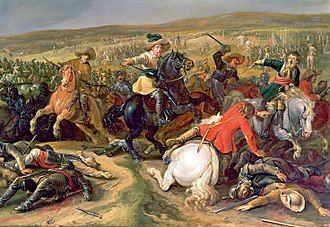 Harquebusier - Gustavus Adolphus (centre) leading a mixed-cavalry charge, 1634
