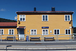 Gyland train station, Vest-Agder, Norway, in sun.jpg