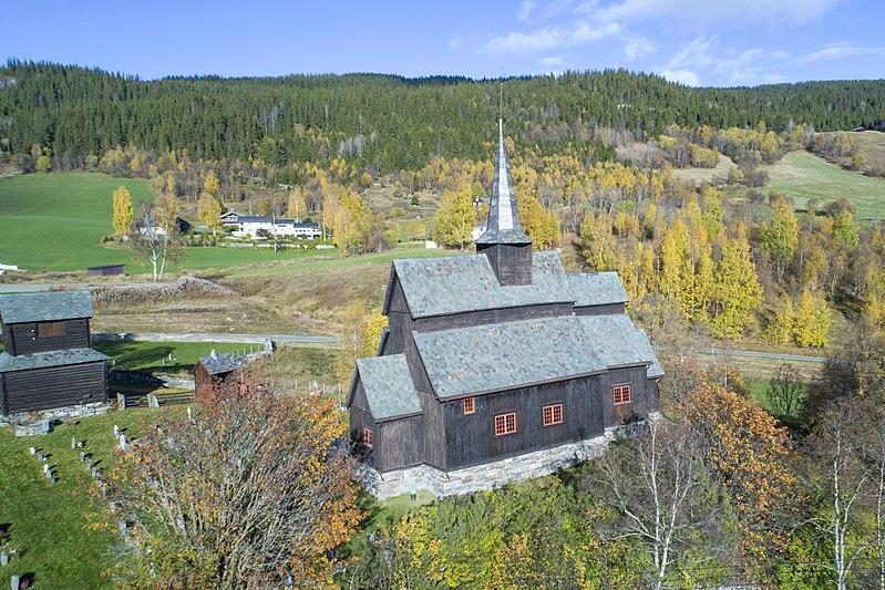 File:Høre stave church, aerial view.jpg