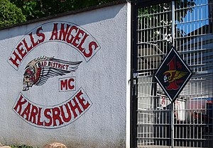 Hells Angels - Insignia of the Hells Angels from Karlsruhe chapter, with the '1%' patch