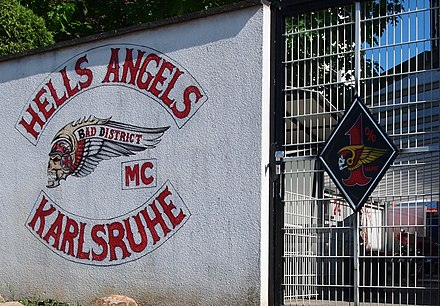 Insignia of the Hells Angels from Karlsruhe charter, with the '1%' patch HAMC BD.jpg