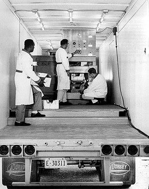 Food irradiation - A portable, trailer-mounted food irradiation machine, circa 1968