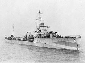 HMS Westcott (D47) - Image: HMS Westcott WWII IWM FL 22820