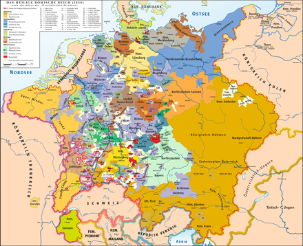 The Holy Roman Empire in 1648, after the Peace of Westphalia, which ended the Thirty Years' War HRR 1648.png