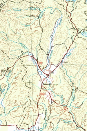 Soque River - Topographic map showing the headwaters of the Soque River and Raper Creek