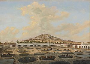 Patio process - Depiction of the patio process at the Hacienda Nueva de Fresnillo, Zacatecas, Pietro Gualdi, 1846.