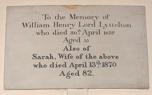 William Lyttelton, 3rd Baron Lyttelton - St John the Baptist Church, Hagley, memorial to William Henry Lyttelton, 3rd Baron Lyttelton, and his wife Sarah, née Spencer