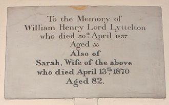 Sarah Lyttelton, Baroness Lyttelton - St John the Baptist Church, Hagley, memorial to William Henry Lyttelton, 3rd Baron Lyttelton, and his wife Sarah, née Spencer