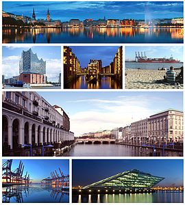 1st row: View of the Binnenalster; 2nd row: Große Freiheit, Speicherstadt, ایلب; 3rd row: Alsterfleet; 4th row: Port of Hamburg, Dockland office building
