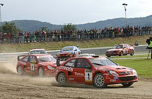 Rallycross - 14 times European champion Kenneth Hansen (Citroën Xsara) leading a qualifying heat in 2004