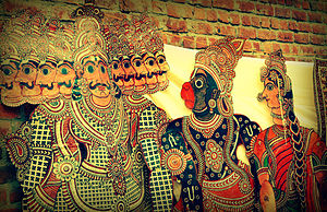 Shadow play - Hanuman and Ravana in Tholu Bommalata, the shadow puppet tradition of Andhra Pradesh, India