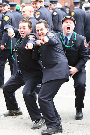 Saint Patrick's Day in Boston. Police officers...