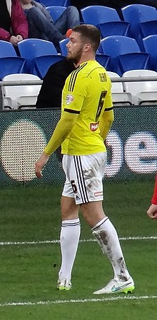 Harlee Dean, Brentford FC footballer, Cardiff City Stadium, December 2014.jpg
