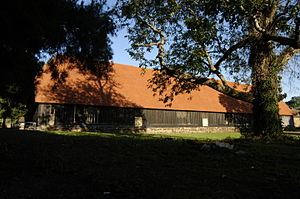 Harmondsworth Great Barn - View of the barn, July 2015, from the north-west.