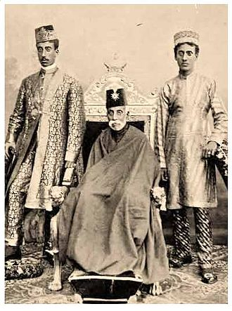 Wasif Ali Mirza - Wasif Ali Mirza Khan (left) with his father, Hassan Ali Mirza (middle) and his younger brother, Nasir Ali Mirza Bahadur (right).