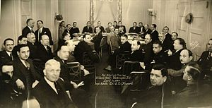 International Hat Company - Manufacturing code hearing (1934) Washington, D.C. with International Hat Company representatives seated at the bottom of left table.  International Hat was an early participant in the establishment of industry standards, product certification, and claimant issues arising from patent infringement cases within the hat segment of the U.S. apparel industry.