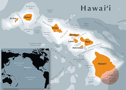 The Hawaiian Islands are located in the North Pacific Ocean Hawaii State Map.jpg