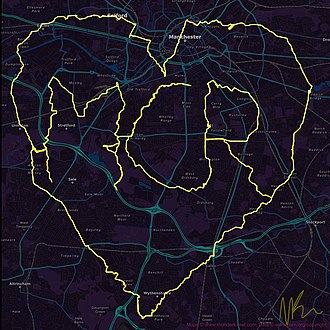 GPS drawing - A GPS Drawing made to commemorate the victims of the Manchester Arena Bombing.
