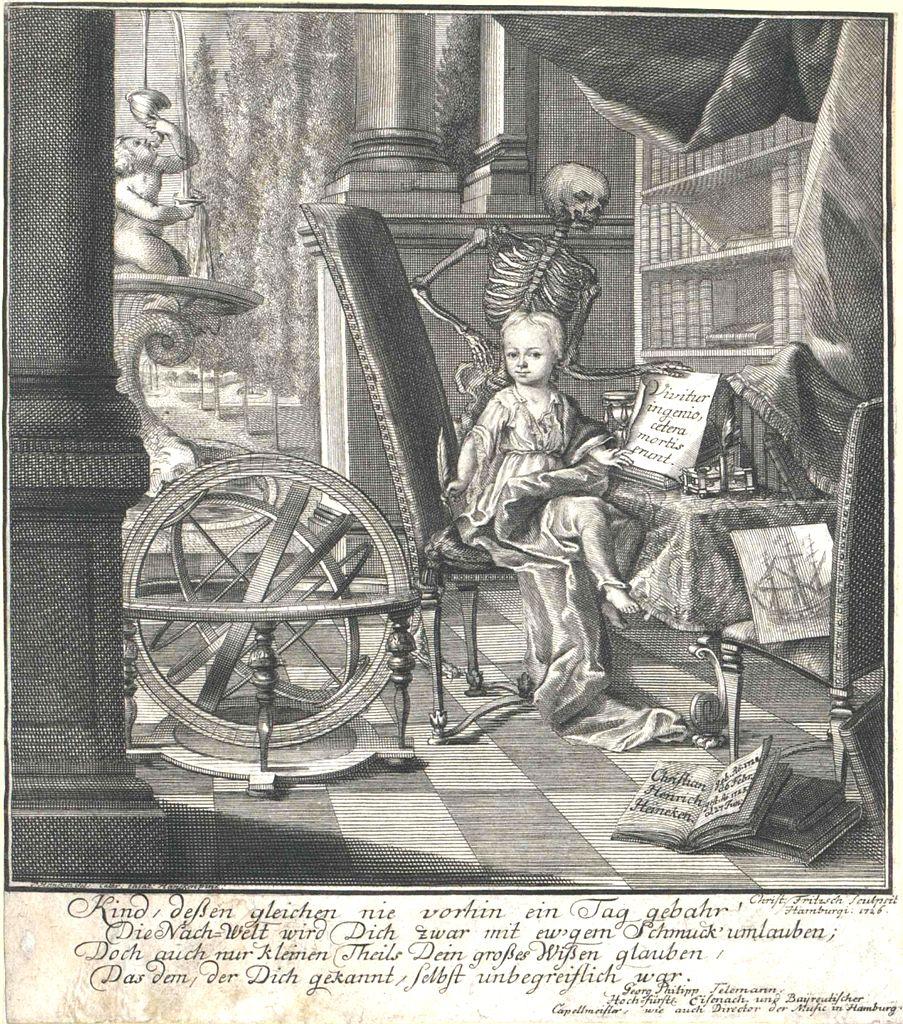 """Christian Heinrich Heinecken, más conocido como """"el niño de Lübeck"""", en un grabado creado a partir de un cuadro pintado por su madre, Catharina Elisabeth Heineken."""