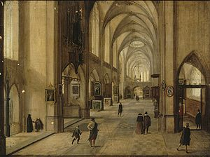 Hendrik van Steenwijk II - Interior of a Gothic-style church, possibly an artist impression for a new extension for the Hooglandsekerk in Leiden, dated 1604.
